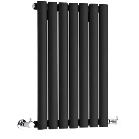Milano Aruba - Modern Black Horizontal Single Panel Designer Radiator – 635mm x 415mm