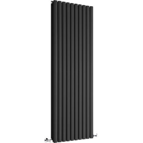 Milano Aruba - Modern Black Vertical Column Double Panel Designer Radiator – 1600mm x 590mm