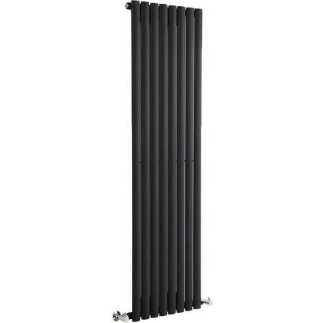 Milano Aruba - Modern Black Vertical Column Single Panel Designer Radiator - 1600mm x 472mm
