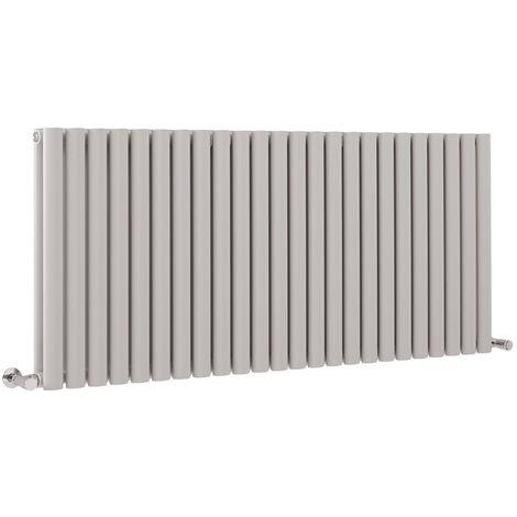 Milano Aruba - Modern Light Grey Horizontal Double Panel Designer Radiator – 635mm x 1416mm