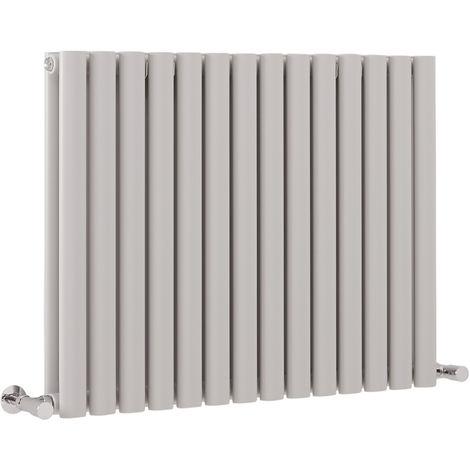 Milano Aruba - Modern Light Grey Horizontal Double Panel Designer Radiator – 635mm x 826mm