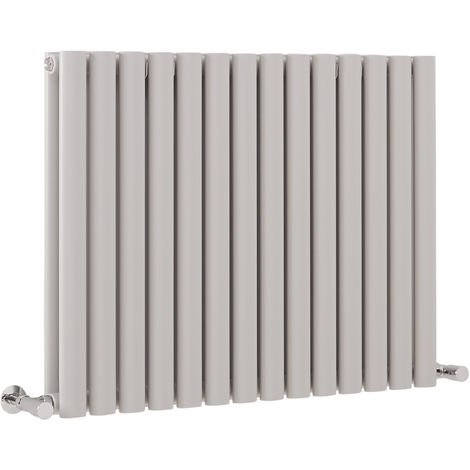 Milano Aruba - Modern Light Grey Horizontal Double Panel Designer Radiator – 635mm x 834mm