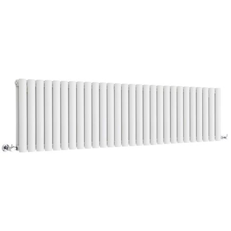 Milano Aruba - Modern White Horizontal Double Panel Designer Radiator – 400mm x 1647mm