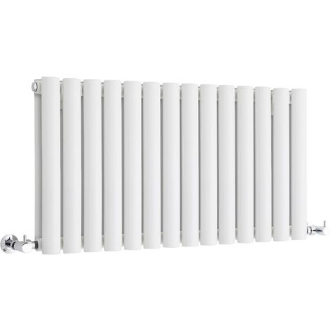 Milano Aruba - Modern White Horizontal Double Panel Designer Radiator – 400mm x 834mm