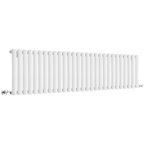 Milano Aruba - Modern White Horizontal Single Panel Designer Radiator – 400mm x 1647mm