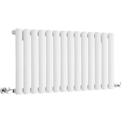 Milano Aruba - Modern White Horizontal Single Panel Designer Radiator – 400mm x 834mm