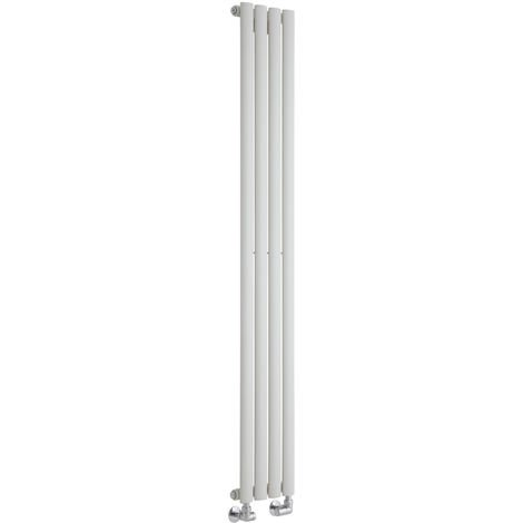 Milano Aruba - Modern White Vertical Column Single Panel Designer Radiator – 1600mm x 236mm