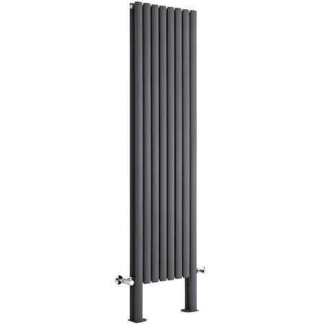Milano Aruba Plus - Modern Anthracite Vertical Column Double Panel Designer Radiator with Feet – 1800mm x 472mm