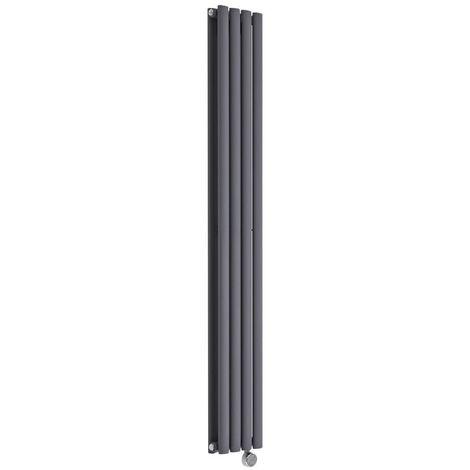 "main image of ""Milano Aruba Slim Electric – 1200W Modern Anthracite Vertical Column Double Panel Designer Radiator – 1600mm x 236mm"""