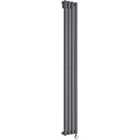 "main image of ""Milano Aruba Slim Electric – 800W Modern Anthracite Vertical Column Single Panel Designer Radiator – 1600mm x 236mm"""