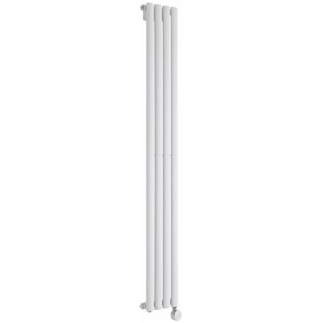 Milano Aruba Slim Electric - 800W Modern White Vertical Column Single Panel Designer Radiator – 1600mm x 236mm