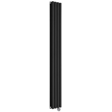 Milano Aruba Electric- Vertical Oval Column Designer Radiator - Black - 1780 x 236mm Double