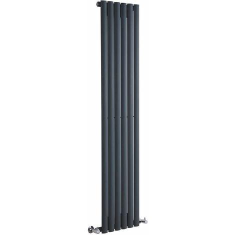 Milano Aruba - Vertical Oval Column Designer Radiator - Anthracite - 1600 x 354mm