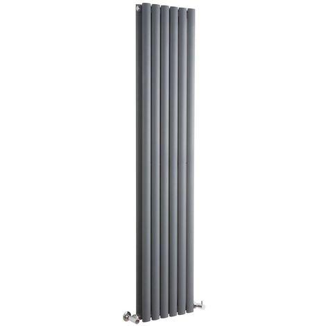 Milano Aruba - Vertical Oval Column Designer Radiator - Anthracite - 1600 x 354mm Double
