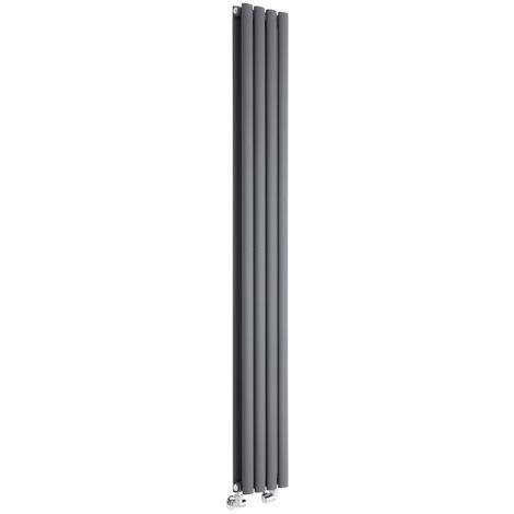 Milano Aruba - Vertical Oval Column Designer Radiator - Anthracite - 1780 x 236mm Double