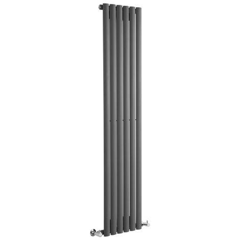 Milano Aruba - Vertical Oval Column Designer Radiator - Anthracite - 1780 x 354mm