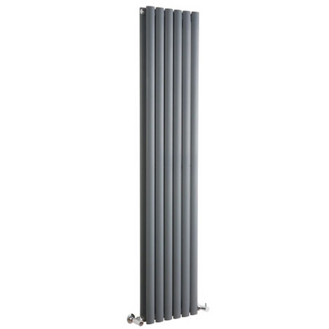 Milano Aruba - Vertical Oval Column Designer Radiator - Anthracite - 1780 x 354mm Double