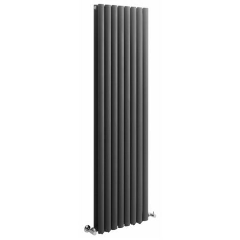 Milano Aruba - Vertical Oval Column Designer Radiator - Anthracite - 1780 x 472mm Double