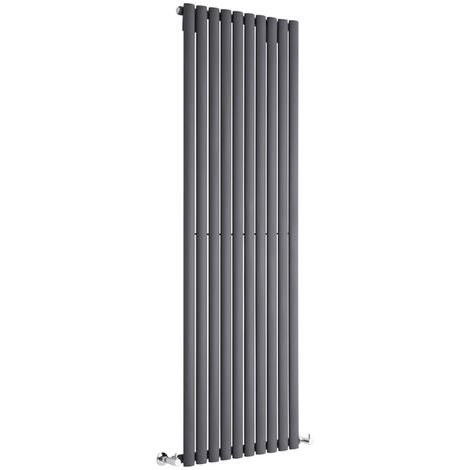 Milano Aruba - Vertical Oval Column Designer Radiator - Anthracite - 1780 x 590mm