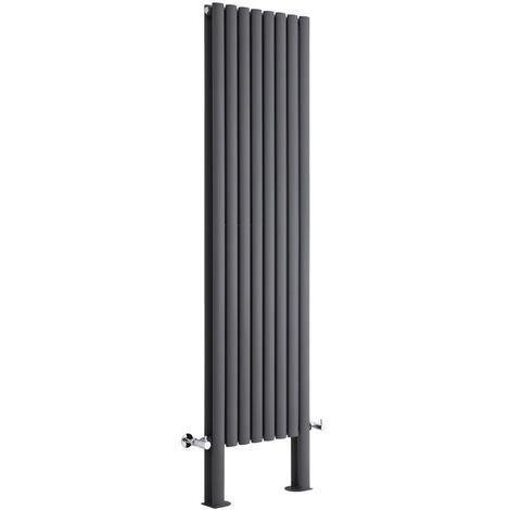 Milano Aruba - Vertical Oval Column Designer Radiator - Anthracite - 1800 x 472mm Double