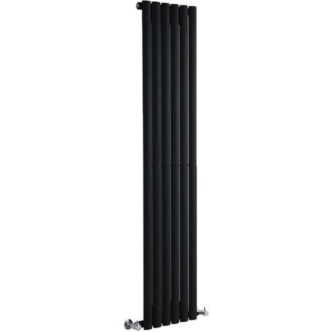 Milano Aruba - Vertical Oval Column Designer Radiator - Black - 1600 x 354mm