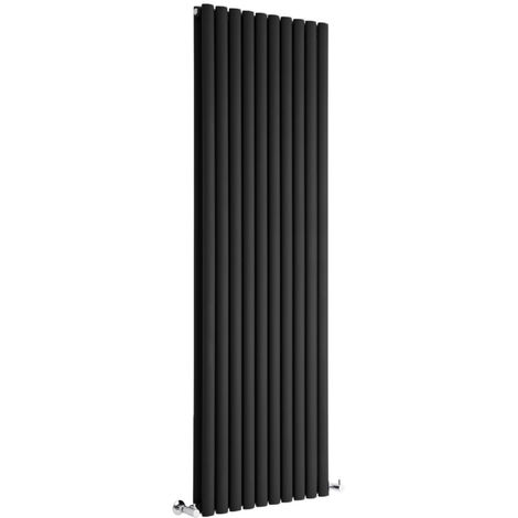 Milano Aruba - Vertical Oval Column Designer Radiator - Black - 1780 x 590mm Double