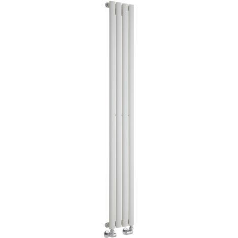 Milano Aruba - Vertical Oval Column Designer Radiator - White - 1600 x 236mm