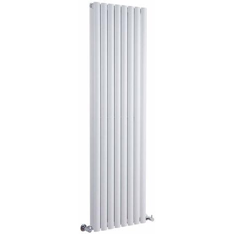 Milano Aruba - Vertical Oval Column Designer Radiator - White - 1600 x 354mm Double