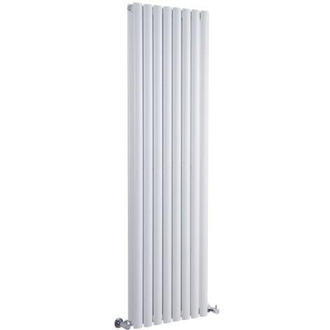 Milano Aruba - Vertical Oval Column Designer Radiator - White - 1780 x 472mm Double