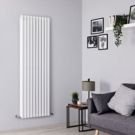 Milano Aruba - Vertical Oval Column Designer Radiator - White - 1780 x 590mm Double