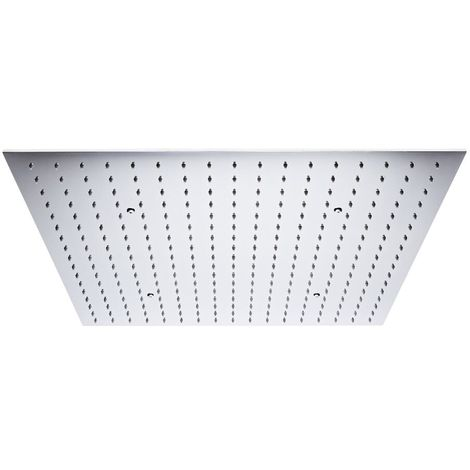 Milano Arvo - Chrome Modern 600mm Square Ceiling Mounted Recessed Shower Head