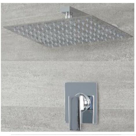 Milano Arvo - Modern 1 Outlet Manual Mixer Shower Valve with 300mm Wall Mounted Square Rainfall Shower Head - Chrome