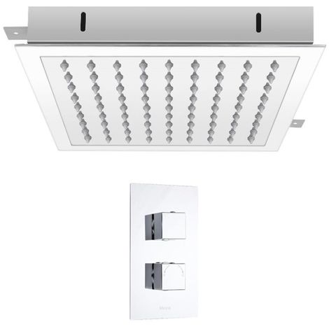 Milano Arvo – Modern 1 Outlet Twin Thermostatic Mixer Shower Valve with 280mm Ceiling Mounted Recessed Square Rainfall Shower Head - Chrome