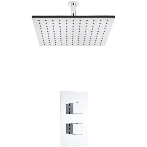 Milano Arvo - Modern 1 Outlet Twin Thermostatic Mixer Shower Valve with 400mm Ceiling Mounted Square Rainfall Shower Head - Chrome