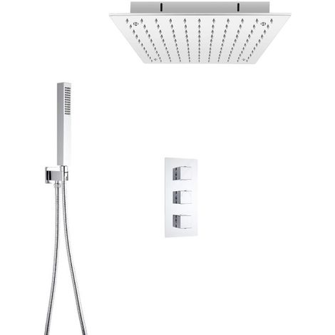 Milano Arvo - Modern 2 Outlet Triple Thermostatic Mixer Shower Valve with 400mm Ceiling Mounted Square Recessed Rainfall Shower Head and Hand Shower Handset Kit - Chrome