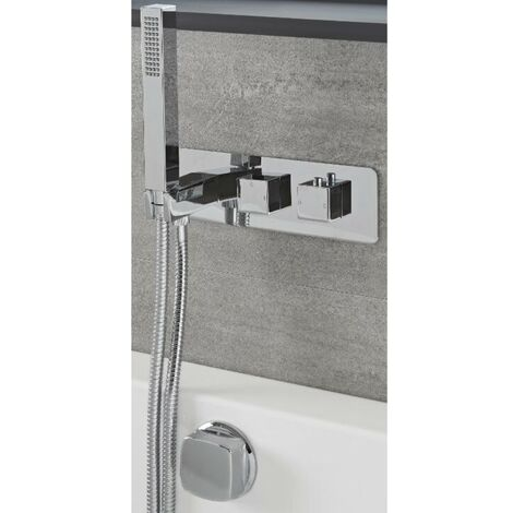 Milano Arvo - Modern 2 Outlet Twin Diverter Thermostatic Mixer Shower Valve with Hand Shower Handset and Overflow Bath Filler Tap- Chrome
