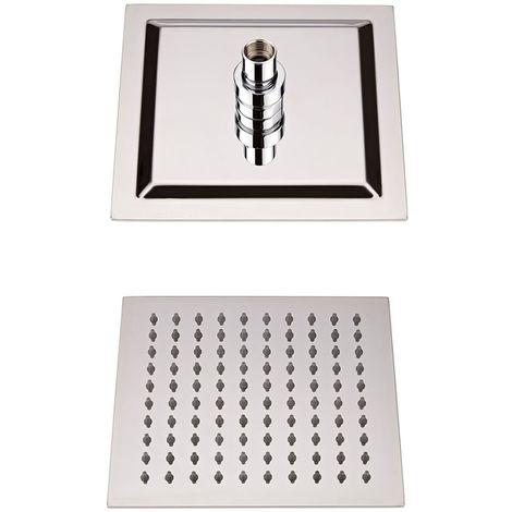 Milano Arvo - Modern 200mm Square Ultra Thin Fixed Rainfall Shower Head - Chrome