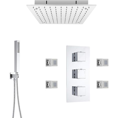 """main image of """"Milano Arvo - Modern 3 Outlet Triple Diverter Thermostatic Mixer Shower Valve with 400mm Ceiling Mounted Square Recessed Rainfall Shower Head, Hand Shower Handset Kit and Body Jets – Chrome"""""""