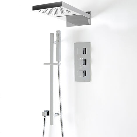 """main image of """"Milano Arvo - Modern 3 Outlet Triple Diverter Thermostatic Mixer Shower Valve with Rainfall Waterblade Shower Head, Riser Rail Slide Bar and Hand Shower Handset Kit - Chrome"""""""