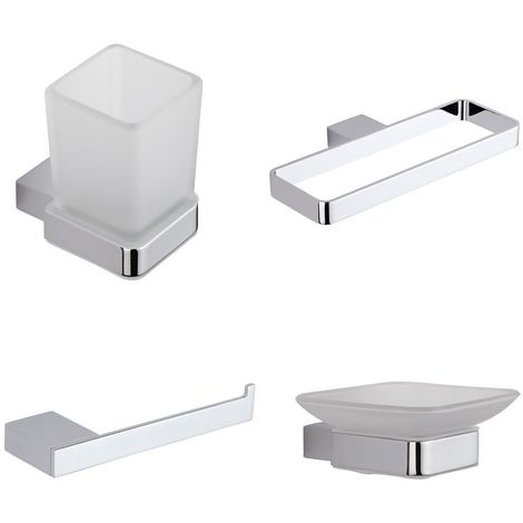 Milano Arvo - Modern 4 Piece Bathroom Accessory Set with Towel Ring, Tumbler, Soap Dish and Toilet Roll Holders - Chrome
