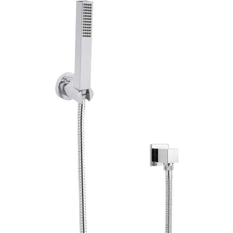 Milano Arvo - Modern Square Hand Shower Handset with Wall Bracket and Outlet Elbow - Chrome