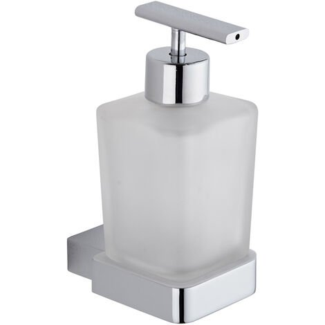 Milano Arvo - Modern Square Wall Mounted Bathroom Glass Soap Dispenser with Chrome Holder