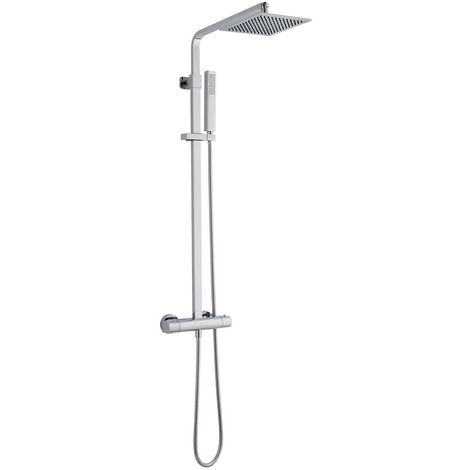 Milano Arvo - Modern Thermostatic Bar Mixer Shower Valve with 200mm Square Fixed Rainfall Shower Head and Hand Shower Handset Rigid Riser Kit - Chrome