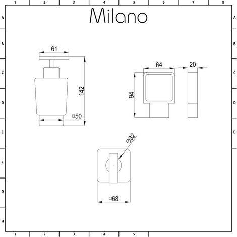 Milano Arvo – Modern Wall Mounted Square Glass Bathroom Soap Dispenser and Chrome Holder