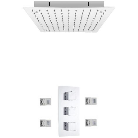 Milano Arvo Shower System - Thermostatic Concealed Triple Valve & 400 mm Recessed Shower Head & 4 Body Jets