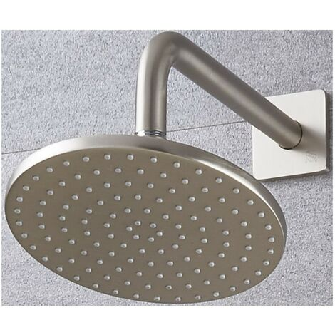 Milano Ashurst 200mm Round Shower Head and Wall Arm - Brushed Nickel
