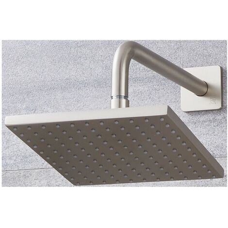 Milano Ashurst 200mm Square Shower Head with Wall Arm - Brushed Nickel