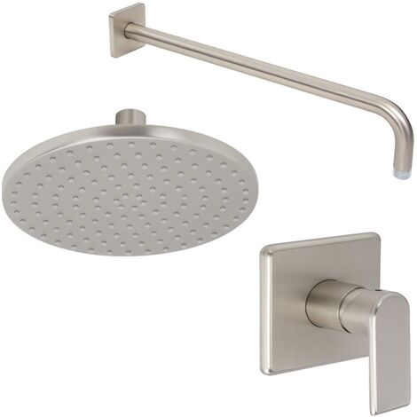 Milano Ashurst - Modern Brushed Nickel Manual Mixer Shower Valve with 200mm Round Rainfall Shower Head and Wall Arm