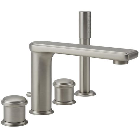 Milano Ashurst - Modern Four Tap Hole Bath Shower Mixer Tap with Pencil Hand Shower Handset - Brushed Nickel