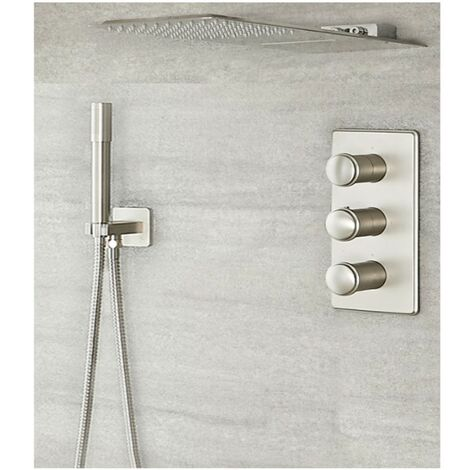 Milano Ashurst Triple Diverter Thermostatic Valve Two Outlet Head and Round Hand Shower - Brushed Nickel